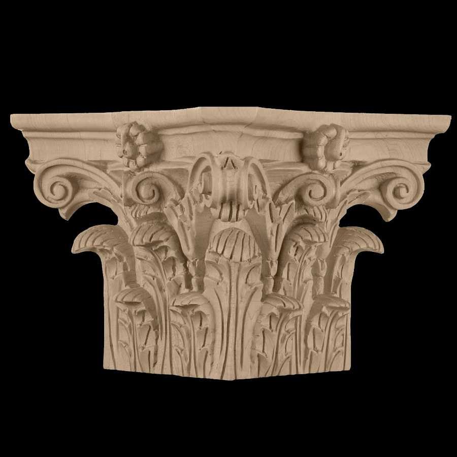 Corinthian order roman wood carved square column