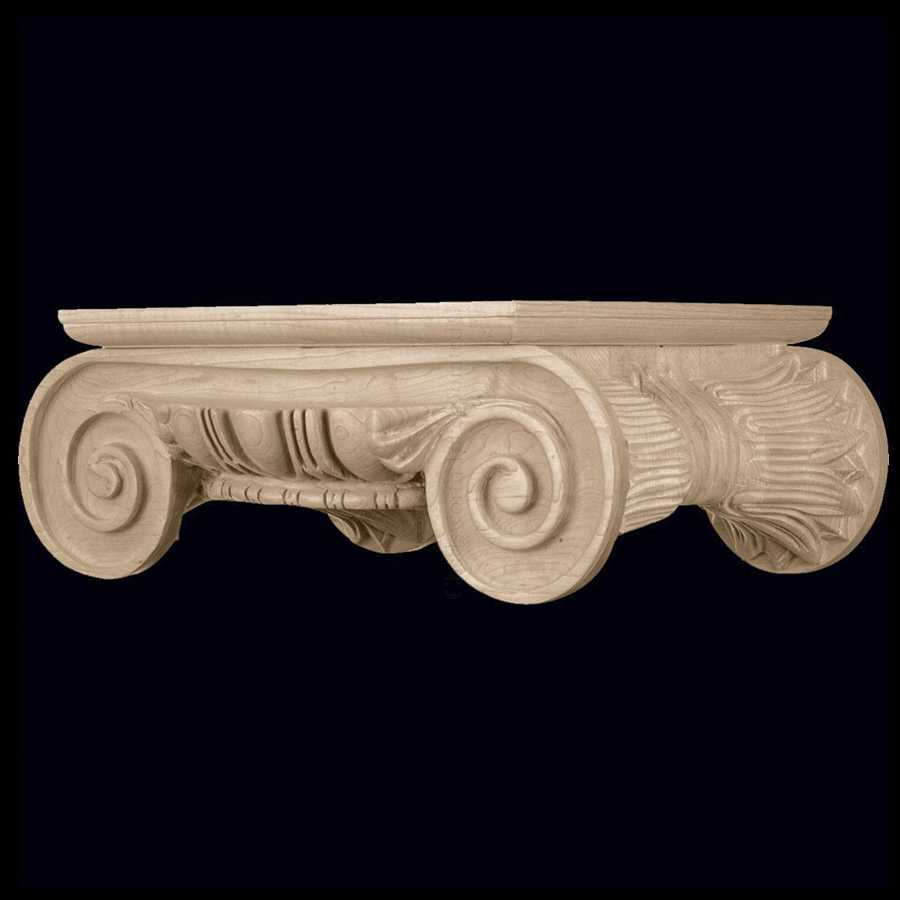Ionic order roman wood carved round capital stain