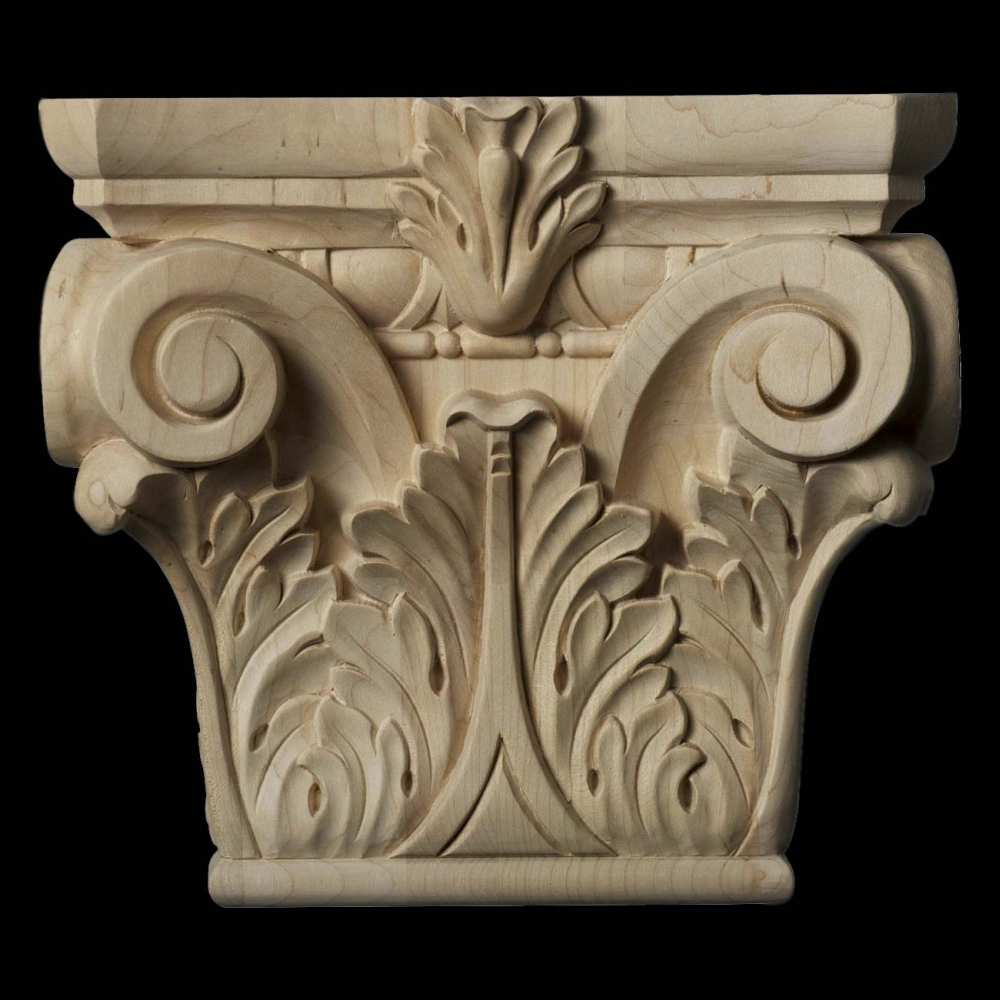 Pilaster capitals half square wood carved