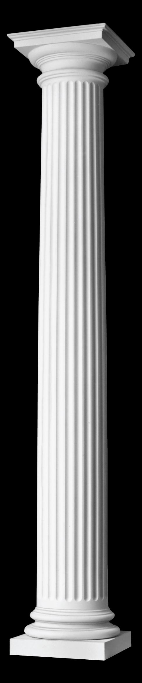 Fluted wood column roman doric capital ionic attic base for Architectural wood columns