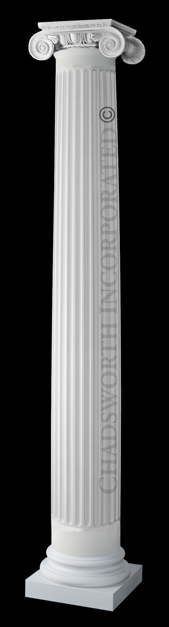 Design 645 ionic order roman frp composite column for Fluted fiberglass columns