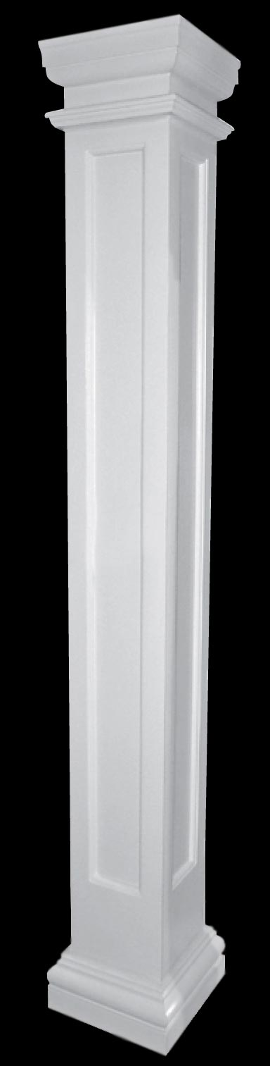 Recessed panel fiberglass columns porch columns for Fiberglass square columns