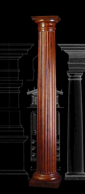 Stain grade fluted cherry wood tuscan column for Architectural wood columns
