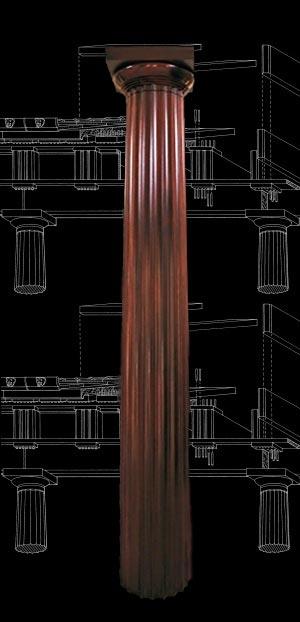 Wood Columns Mahogany Stain Grade Fluted Greek Doric
