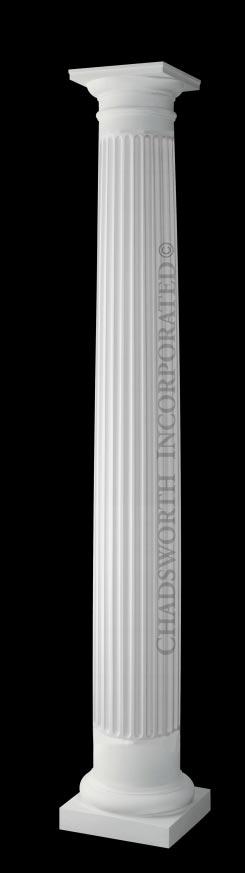 Classic stone column fluted round roman doric column for Fluted fiberglass columns