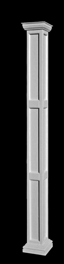 Fiberglass Column Caps : Square recessed panel fiberglass columns