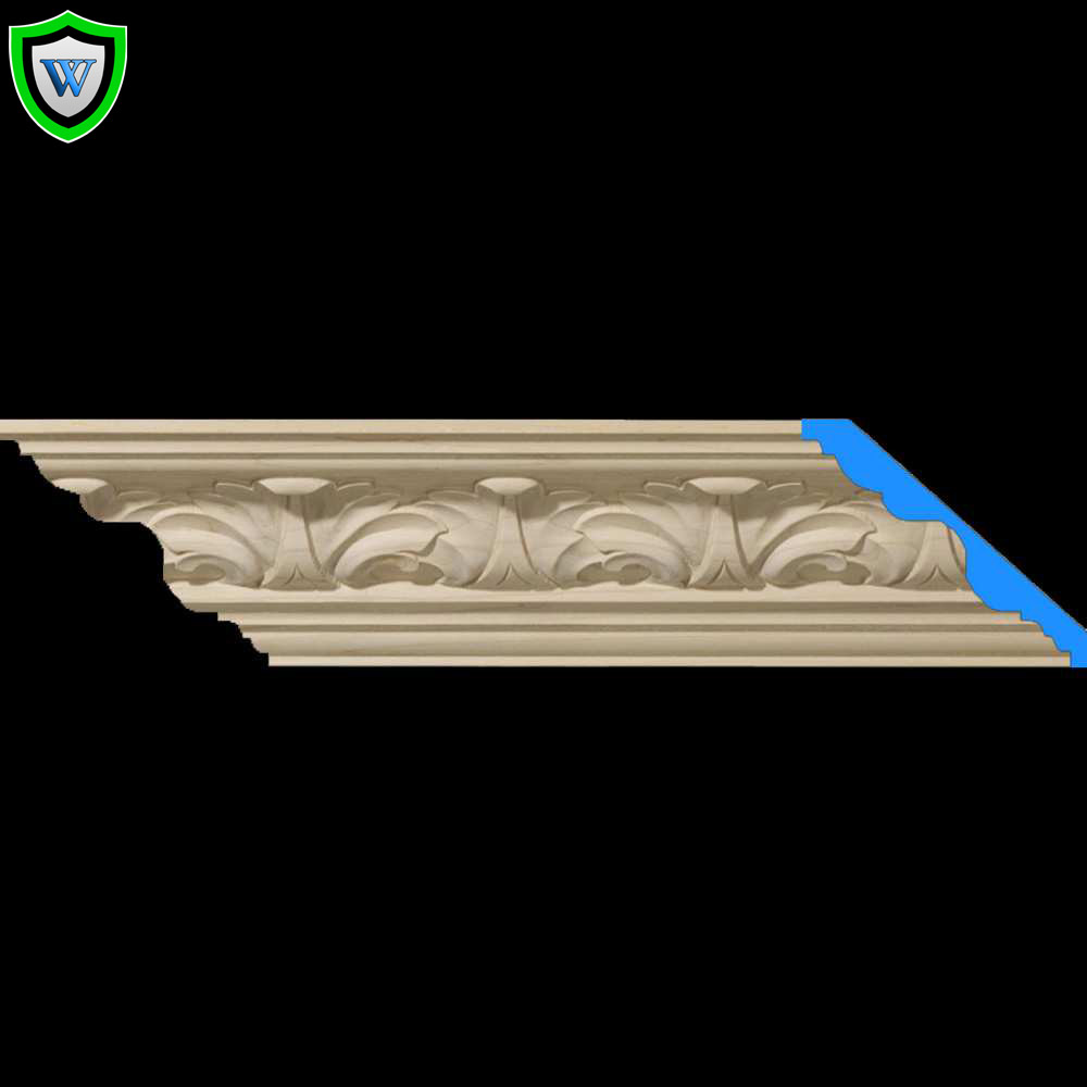 Carved wood crown molding acanthus design for Crown columns