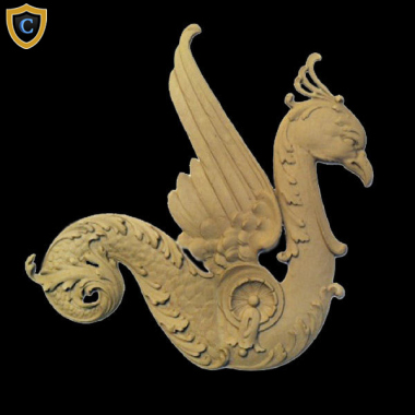 "Composition Applique For Wood - Griffin Design - (W): 10-1/4"" x (H): 11"" x 3/8"" (Relief) - Design #AP-6236-6 