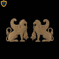 Composition Applique For Wood - Griffin Design - (W): 7-5/8