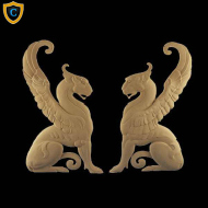 Composition Applique For Wood - Griffin Design - (W): 6-5/8