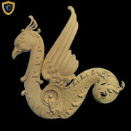 Composition Applique For Wood - Griffin Design - (W): 10-1/4