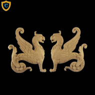 Composition Applique For Wood - Griffin Design - (W): 11-3/8