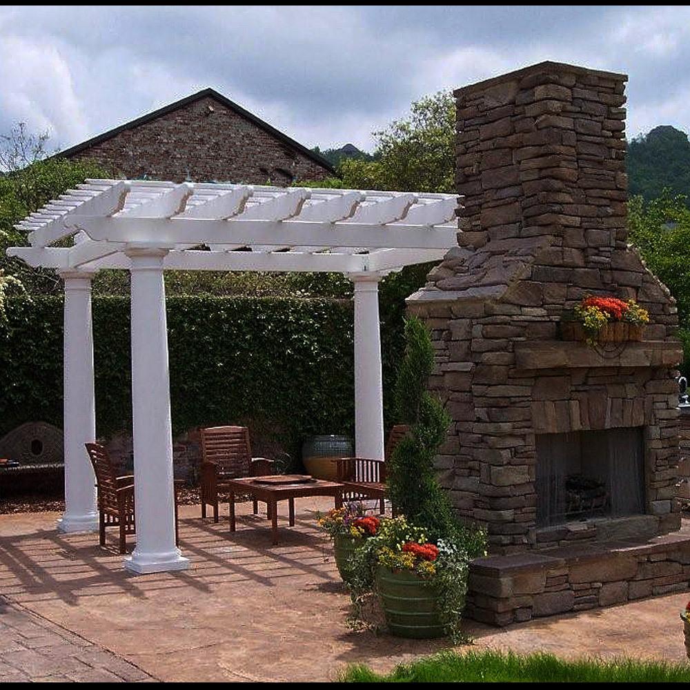 Round fiberglass outdoor pergola kit column centers 10 for 10 fiberglass columns