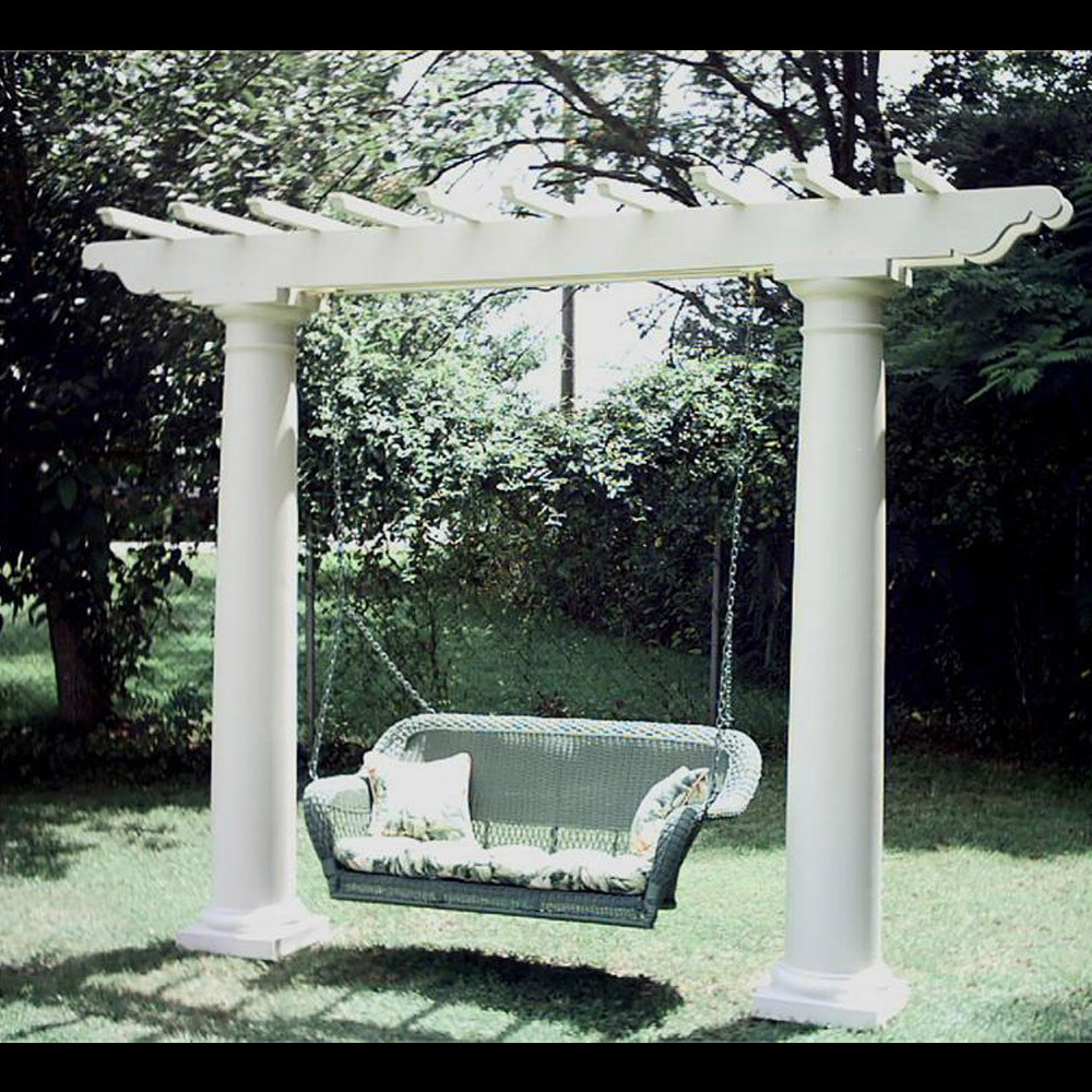 Freestanding Pergola Swing Set - Exterior Swing with Columns by Chadsworth  Columns: shop.columns - Pergola Swings, Pergola Outdoor Swings, Patio Pergola Swings