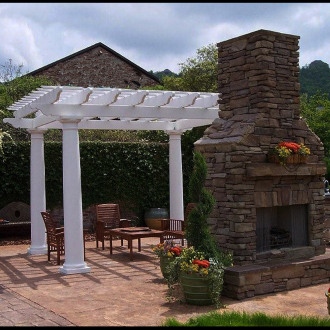 Round fiberglass outdoor pergola kit column centers 10 for Round porch columns