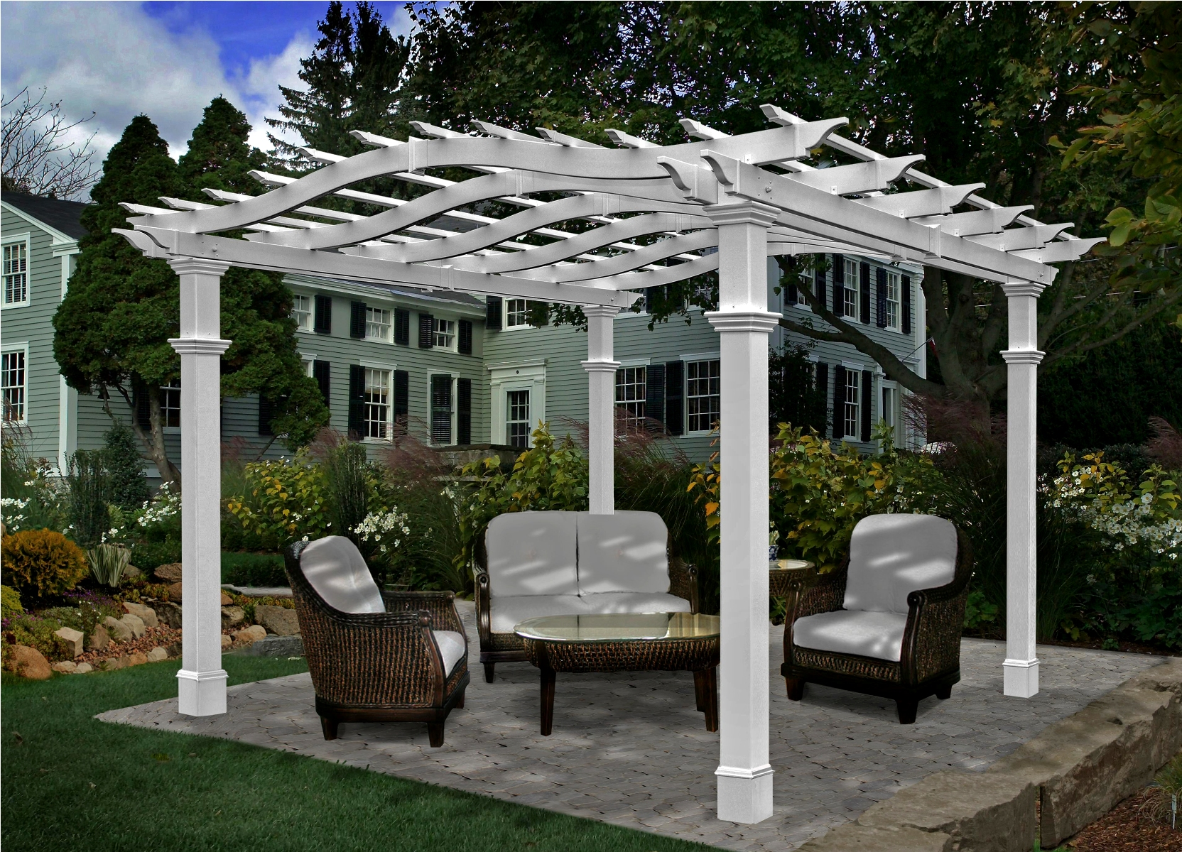 Pergola designs with columns furnitureplans for Plans for arbors