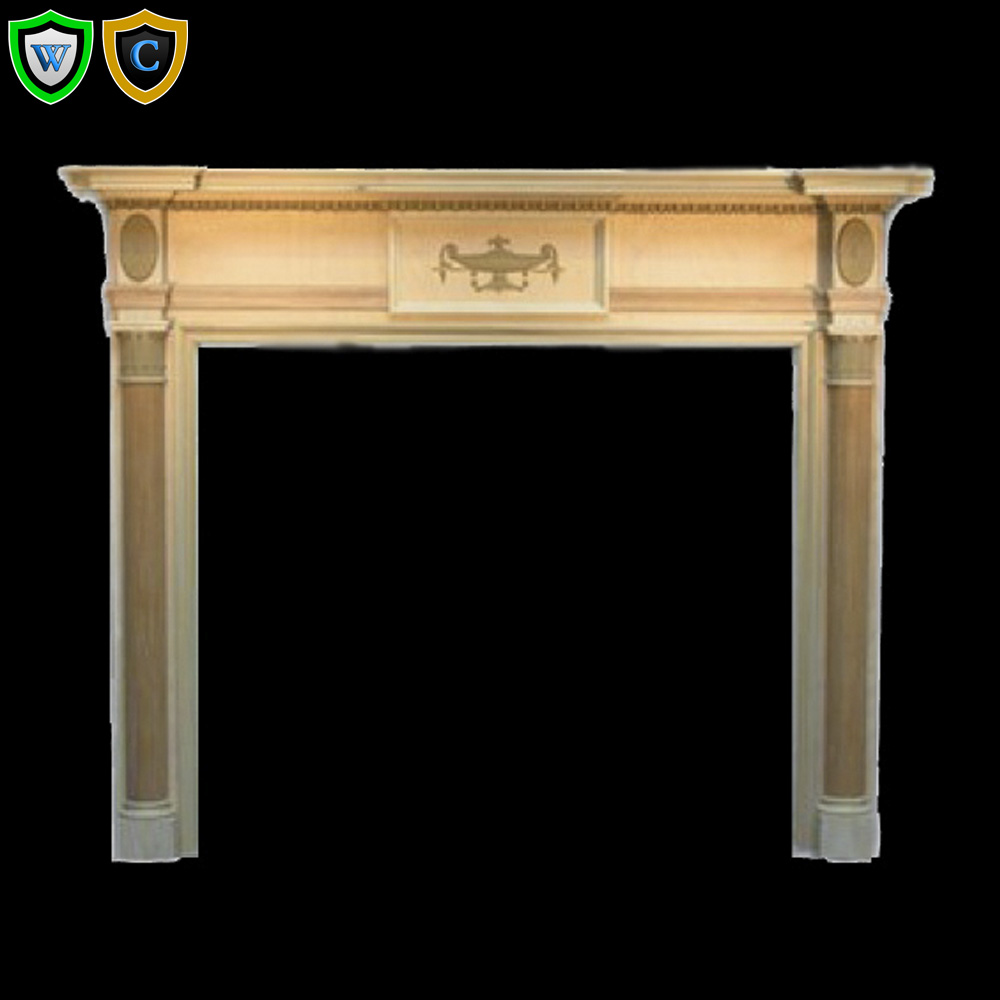 Colonial Wood Fireplace Mantel With Fluted, Tapered Legs ...