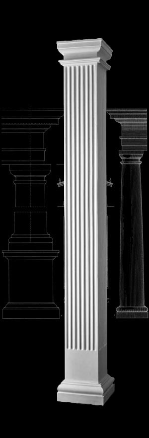 Fluted square non tapered polystone columns design for Fluted fiberglass columns