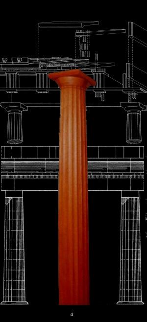 Stain grade greek doric wood column cherry wood - Fluted wood columns interior ...
