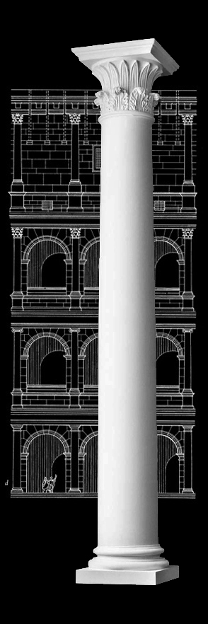 House Columns Product : Plain polystone tapered columns tower of the winds