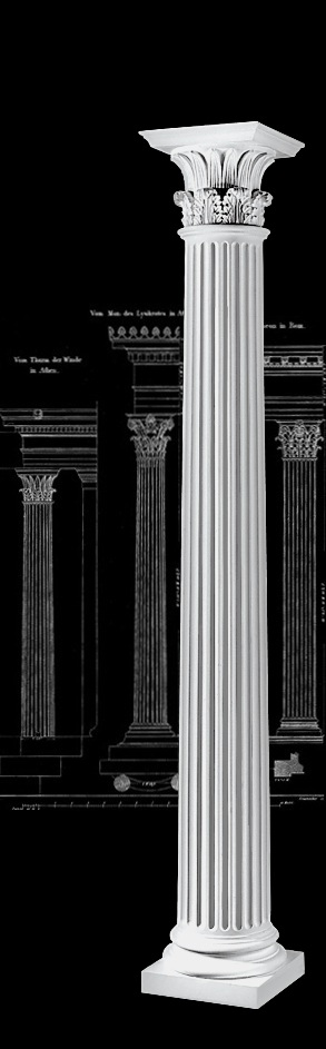 Architectural Column Base : Fluted architectural wood greek corinthian columns