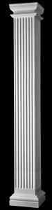 Three fourths corner square architectural fiberglass columns for Fluted fiberglass columns