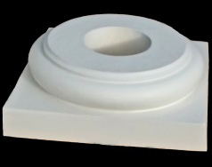 Tuscan Polyurethane Base Molding and Plinth for a round, tapered (plain or fluted) column shaft.  Typically used with PolyStone® columns.  Chadsworth Columns: shop.columns.com