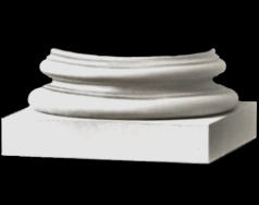 Roman Ionic - Polyurethane Attic base molding and plinth for a round, tapered column shaft (plain or fluted) - Chadsworth Columns: shop.columns.com