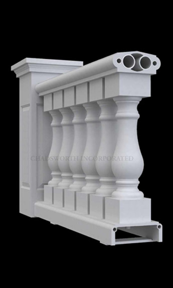Classic Stone Custom Balustrade System - Balustrade Design Option #1 - Chadsworth Columns: shop.columns.com