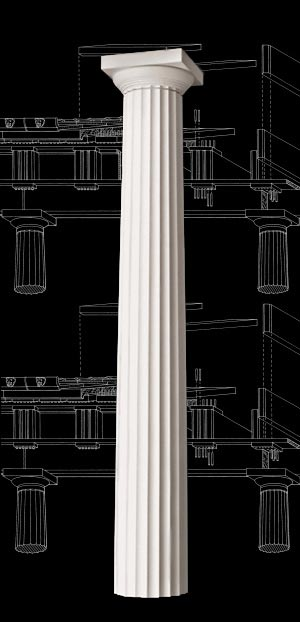 Greek Doric Fluted Wood Column