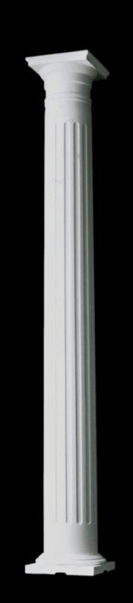 Small Tuscan Style Exterior Wood Columns, Fluted, Tapered, Structural