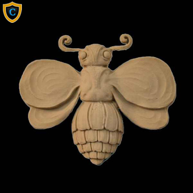 "Animal Design - Decorative Bee Design - Composition Material - (W): 4"" x (H): 3-1/2"" x 1/2"" (Relief) - Design #AN-15411-6"