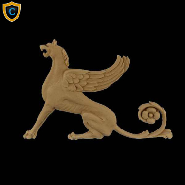 "Composition Applique For Wood - Griffin Design (Facing Left) - (W): 9"" x (H): 6-1/4"" - Design #AP-F21-6 