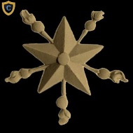 Decorative Star with Bursts Applique